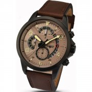 Accurist Sky Master Chronograph Brown Dial Brown Leather Strap Gents Watch 7053