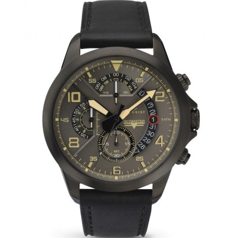 Accurist Sky Master Chronograph Grey Dial Black Leather Strap Gents Watch 7054