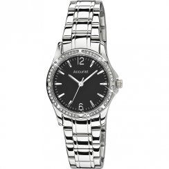 Accurist Stone Set Black Dial Stainless Steel Bracelet Ladies Watch LB1744B