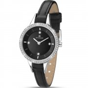 Accurist Stone Set Dial Black Leather Strap Ladies Watch 8041