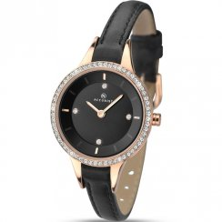 Accurist Stone Set  Dial Black Leather Strap Ladies Watch 8044