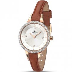 Accurist Stone Set Silver Dial Tan Brown Leather Strap Ladies Watch 8043