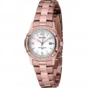 Accurist Stone Set White Dial Rose Gold Bracelet Ladies Watch LB1545