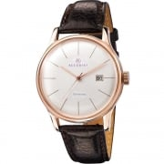 Accurist Vintage White Dial Brown Leather Strap Gents Watch MS735S