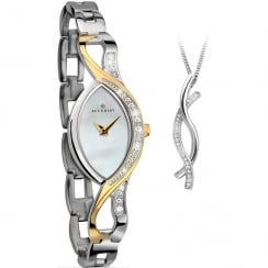 Accurist White Dial 2 Tone Bracelet Ladies Watch with Pendant Gift 8057G