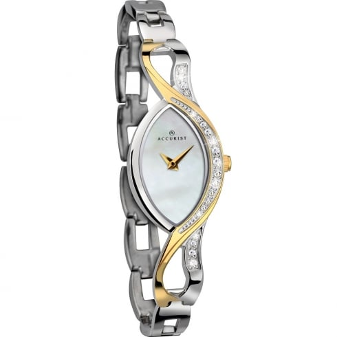 Accurist White Dial 2 Tone Stainless Steel Bracelet Ladies Watch 8057