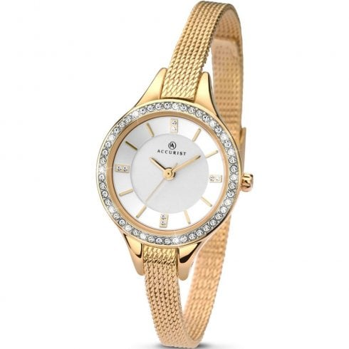 Accurist White Dial Gold Mesh Strap Ladies Watch 8004