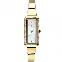 Accurist White Dial Gold Plated Semi Bangle Bracelet Ladies Watch 8026