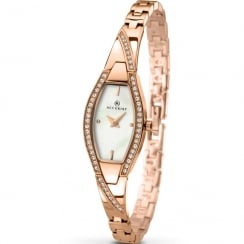 Accurist White Dial Rose Gold Semi Bangle Bracelet Ladies Watch 8030