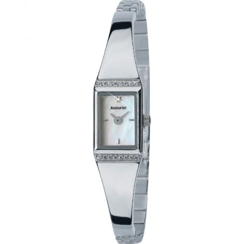 Accurist White Dial Stainless Steel Semi-Bangle Ladies Watch LB1454P