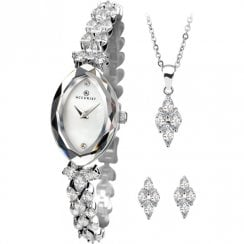 Accurist White Dial Stone Set Bracelet Ladies Watch with Pendant & Studs Gift Set 8097G