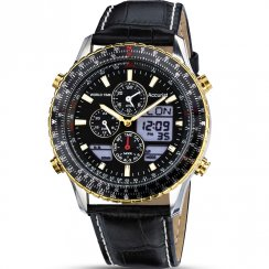 Accurist World Time Chrono Black Dial Leather Strap Gents Watch MS1031B