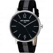 Ben Sherman Black Dial Black & Grey Nylon Strap Gents Watch WB044BA