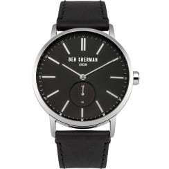 Ben Sherman Black Dial Black Leather Strap Gents Watch WB032BA