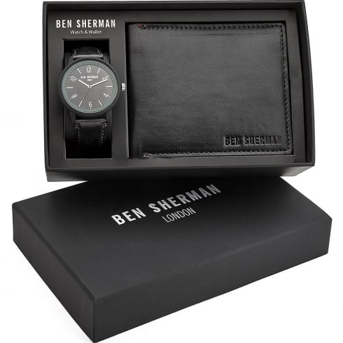 Ben Sherman Black Dial Black Strap Gents Watch & Wallet Gift Set WB050BBG