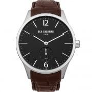 Ben Sherman Black Dial Brown Leather Strap Gents Watch WB003BR