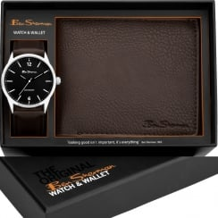 Ben Sherman Black Dial Brown Strap Gents Watch & Wallet Gift Set BS124G