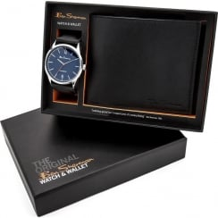 Ben Sherman Blue Dial Black Strap Gents Watch & Wallet Gift Set BS120G
