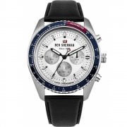 Ben Sherman Chronograph Silver Dial Black Leather Strap Gents Watch WBS108UB