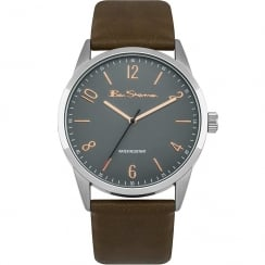 Ben Sherman Classic Grey Dial Brown Strap Gents Watch BS152