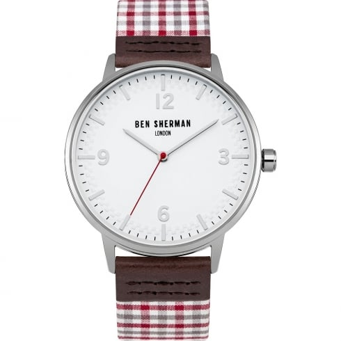 Ben Sherman Classic White Dial Leather Strap Gents Watch WB062WUR