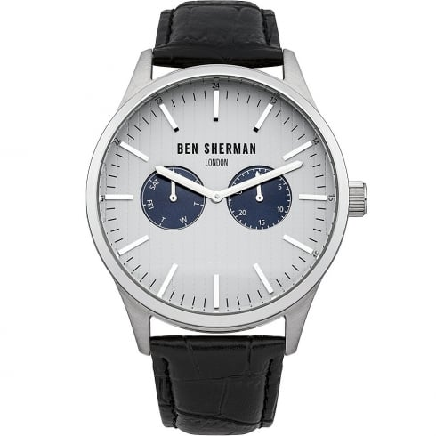 Ben Sherman Grey Dial Black Leather Strap Gents Watch WB024SA