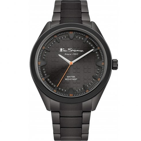 Ben Sherman Grey Dial Gun Metal Stainless Steel Bracelet Strap Gents Watch BS005BBM