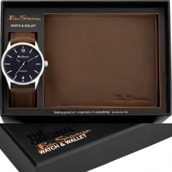 Ben Sherman Navy Dial Tan Strap Gents Watch & Wallet Gift Set BS123G