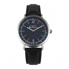 Ben Sherman Script Gents Black Dial Black Faux Leather Strap Watch BS006UB