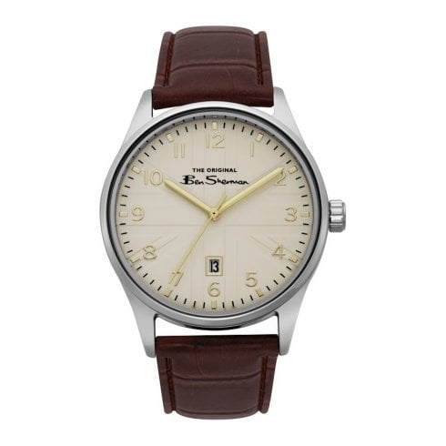 Ben Sherman Script Gents Cream Dial Brown Leather Strap Watch BS017BR