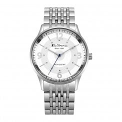 Ben Sherman Script Gents White Dial Stainless Steel Bracelet Watch BS001SM