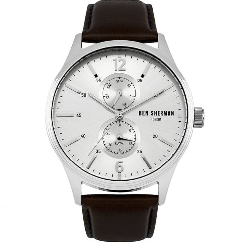 Ben Sherman Silver Dial Brown Leather Strap Gents Watch WB047BR