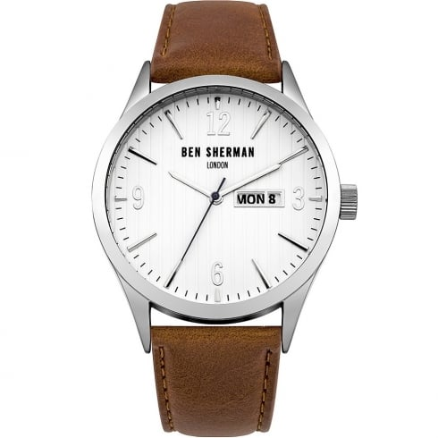 Ben Sherman White Dial Tan Leather Strap Gents Watch WB053T