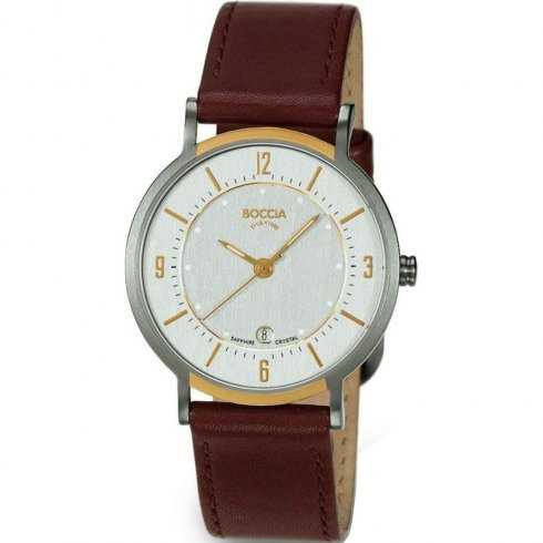 Boccia Classic Silver Dial Brown Leather Strap Ladies Watch 3154-03