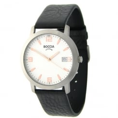 Boccia Classic white dial Black Leather strap Mens watch 3544-02
