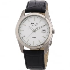 Boccia Classic white dial leather strap Mens watch 3548-01