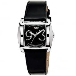Breil Flight Black Dial Black Leather Strap Ladies Watch TW0216
