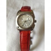 Breil Wide Chronograph silver dial chronograph leather strap Ladies watch 2519750221