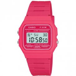 Casio Collection Digital Chronograph Pink Resin Strap Ladies Watch F-91WC-4AEF