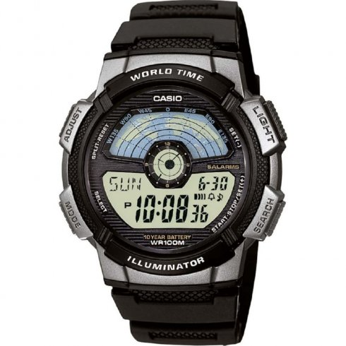 Casio Collection black dial chronograph resin strap Mens watch AE-1100W-1AVEF