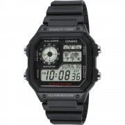 Casio Collection black dial chronograph resin strap Mens watch AE-1200WH-1AVEF