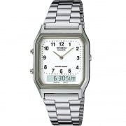 Casio Collection Chronograph White Dial Chrome Bracelet Gents Watch AQ-230A-7BMQYES