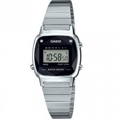 Casio Collection Diamond Digital Chronograph Chrome Bracelet Ladies Watch LA670WEAD-1EF