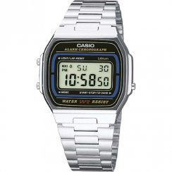 Casio Collection Digital Chronograph Black Dial Chrome Bracelet Unisex Watch A164WA-1VES