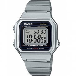 Casio Collection Digital Chronograph Black Dial Chrome Bracelet Watch B650WD-1AEF