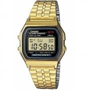 Casio Collection Digital Chronograph Black Dial Gold Bracelet Watch A159WGEA-1EF