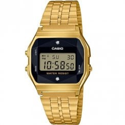 Casio Collection Digital Chronograph Black Dial Gold Bracelet Watch A159WGED-1EF