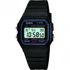 Casio Collection Digital Chronograph Black Resin Strap Unisex Watch F-91W-1XY