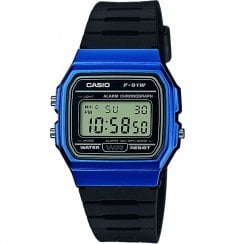 Casio Collection Digital Chronograph Black Resin Strap Unisex Watch F-91WM-2AEF