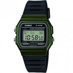 Casio Collection Digital Chronograph Black Resin Strap Unisex Watch F-91WM-3AEF